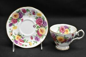Queen-Anne-Autumn-Glory-Multi-Color-Floral-Cup-amp-Saucer