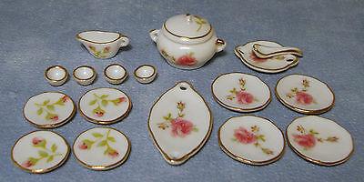 1:12 Scale Ceramic 17 Piece Dolls House Miniature Pink Rose Dinner Service 726