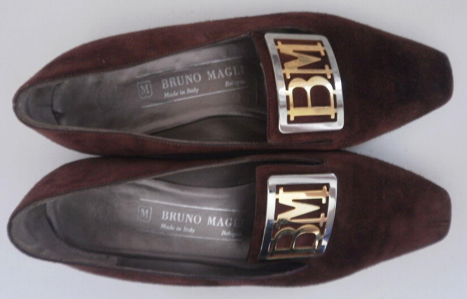 BRUNO MAGLI Damen Ballerinas Pumps made made made italy TRUE VINTAGE Slipper braun braun 9e70db