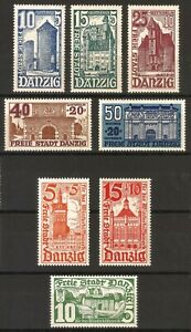 DR-Danzig-Rare-WW2-Stamp-1935-36-Danzig-Castles-Towers-Church-Gdansk-Classic-Set