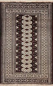Geometric-Balouch-Afghan-Oriental-Hand-Knotted-Area-Rug-Tribal-Wool-Carpet-3-039-x4-039