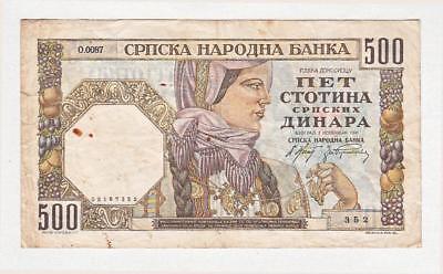 ## Serbien ## 500 Dinara ## 01.11.1941 ## Wz Männerkopf ## Serie 352