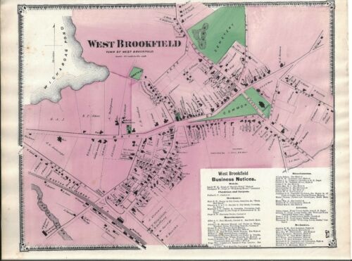 MAP THAT WAS REMOVED FROM THE BEER/'S 1870 ATLAS 1870 WEST BROOKFIELD MA
