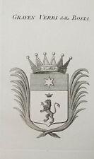 1847 Coat of Arms Wappen Grafen Verri della Bosia Kupferstich von Tyroff