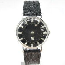 LeCoultre Vacheron Constantin Diamond Mystery Dial Black Face 14k Gold Watch