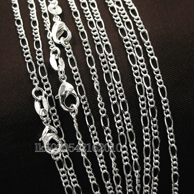 """Lots 5 Pcs 925 Sterling Solid Silver 2mm Figaro Link Chain Necklace 16"""" To 28"""""""