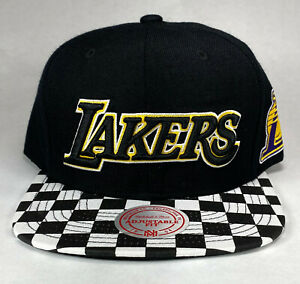 Mitchell-and-Ness-NBA-Los-Angeles-Lakers-Checked-Visor-Snapback-Hat-Cap-New