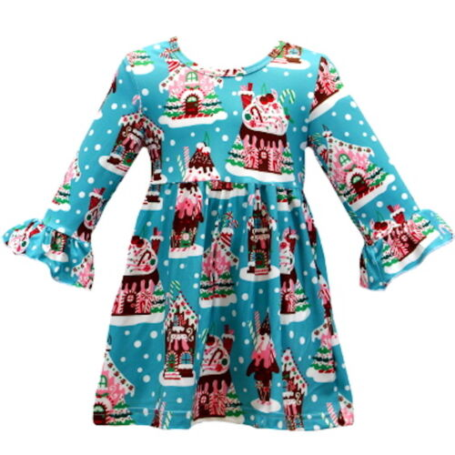 Gingerbread House Tunic Dress boutique girls long sleeve turquoise blue pink red