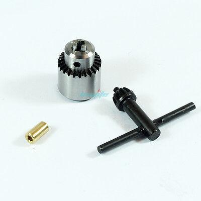 "3.17mm 1/8"" Motor Shaft Drill Bit Clamp Fixture Chuck & Key for 0.3-4mm Bits JT0"