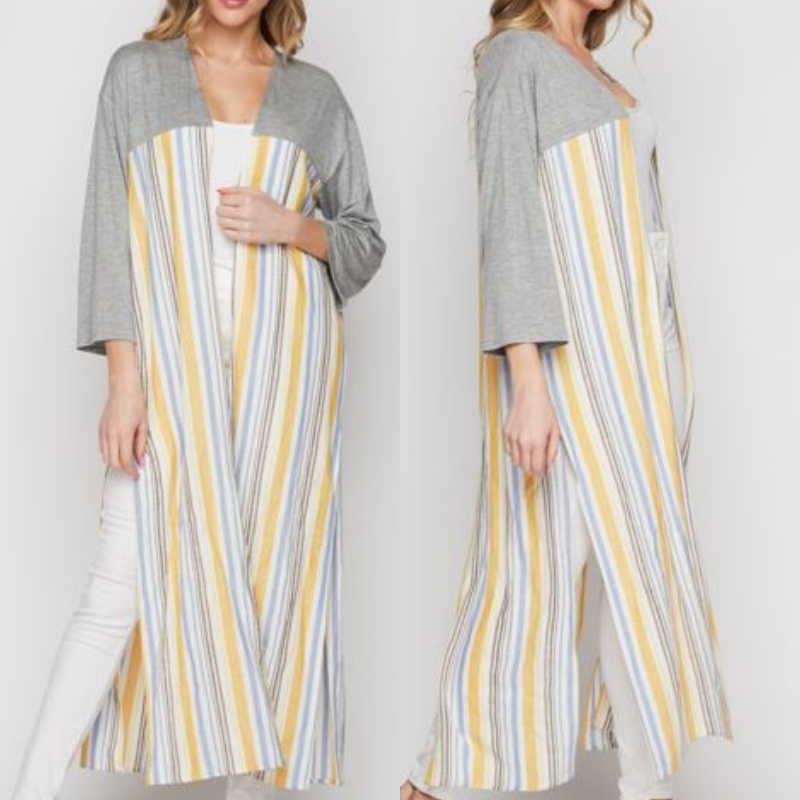 NEW HONEYME MULTI COLORED STRIPED DUSTER CARDIGAN SIZE S, M