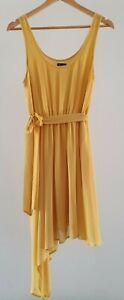 Bardot-Womens-Size-10-Mustard-Yellow-Asymmetric-Hem-Scoop-Neck-Casual-Dress-EUC