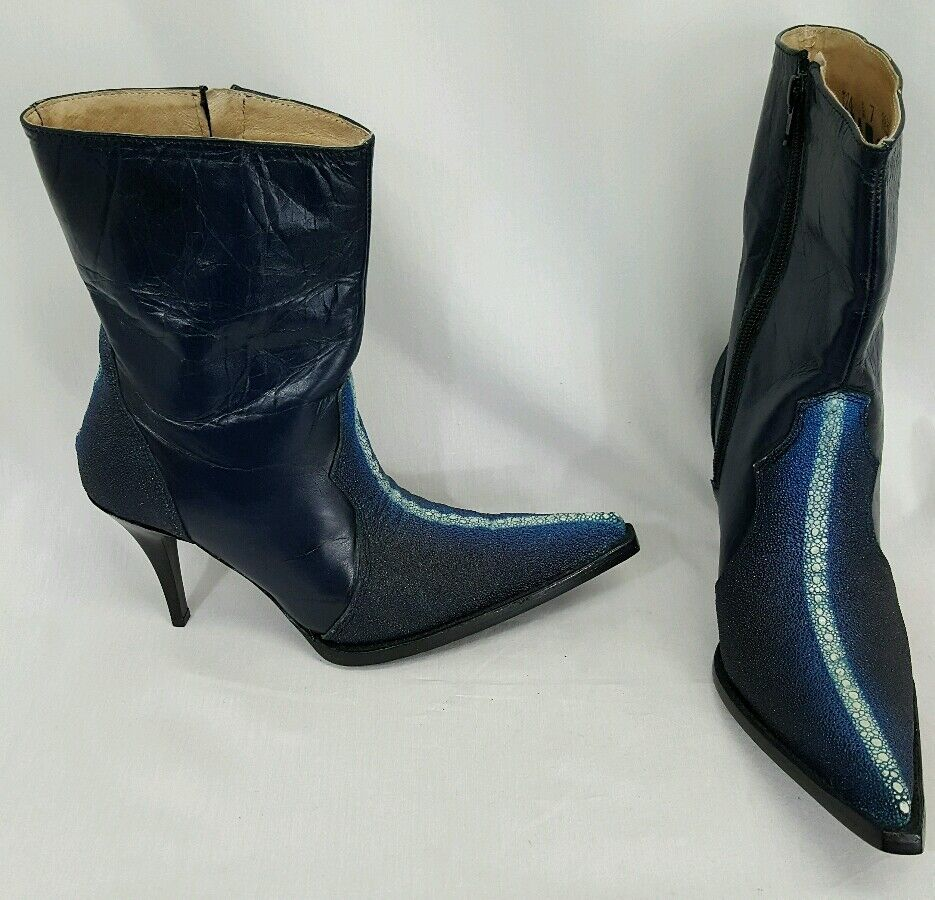 Jar Boots Mexico blue pelle high heel pointed booties western cowgirl US7
