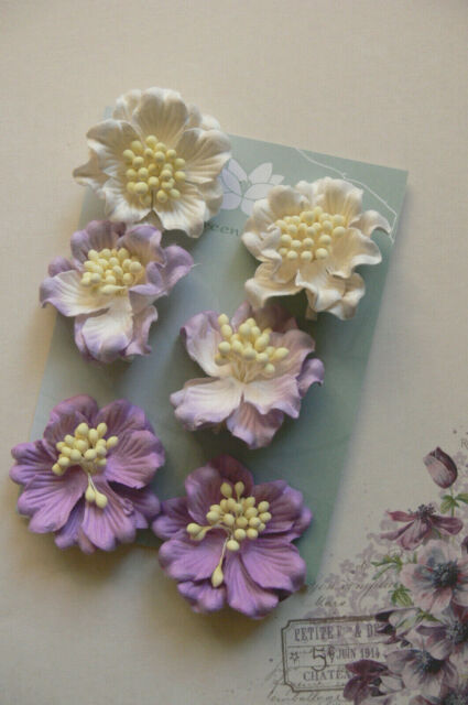AZALEAS 6 Light LAVENDER & WHITE Tones Paper flowers 45mm Across Green Tara GT D