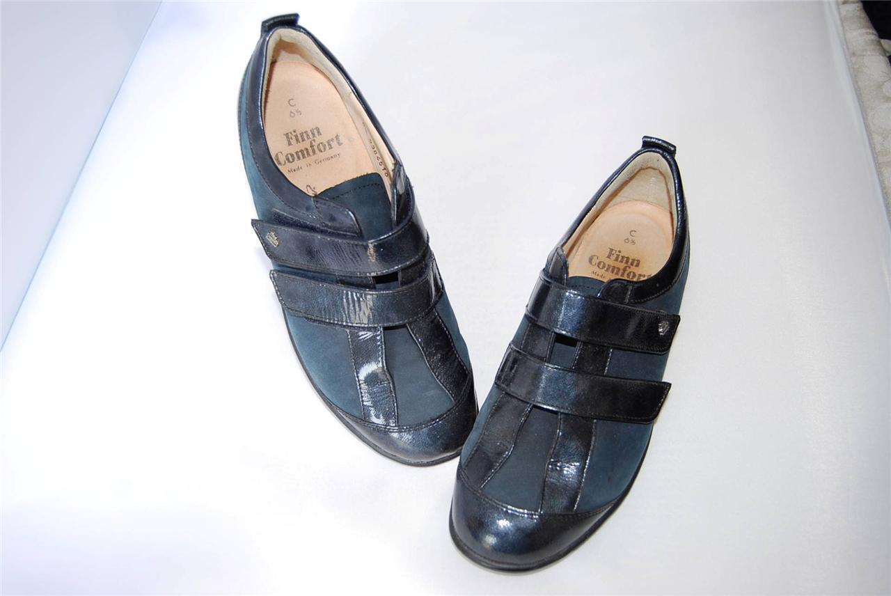 FINN COMFORT Dark Navy Navy Navy Suede Leather Slip On Oxfords w strap,US 8-8.5, UK 6.5 C 9b5499