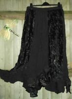 Hippy Gypsy Wicca Pagan Black Velvet Holy Clothing X Long Pixie Maxi Skirt L Xl