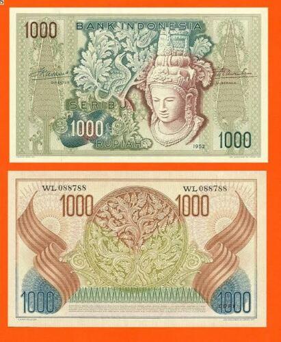 UNC Indonesia 1000  Rupiah 1952 Reproductions
