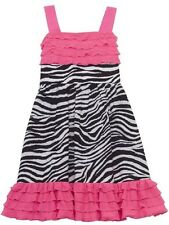 NWT RARE EDITIONS Girl 6X Spring Pink Eyelash Ruffle Zebra Print SUNDRESS Dress