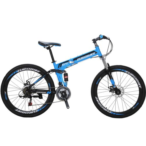 "26/"" Folding Mountain Bike Full Suspension bikes 21 Speed School Bicycle MTB"
