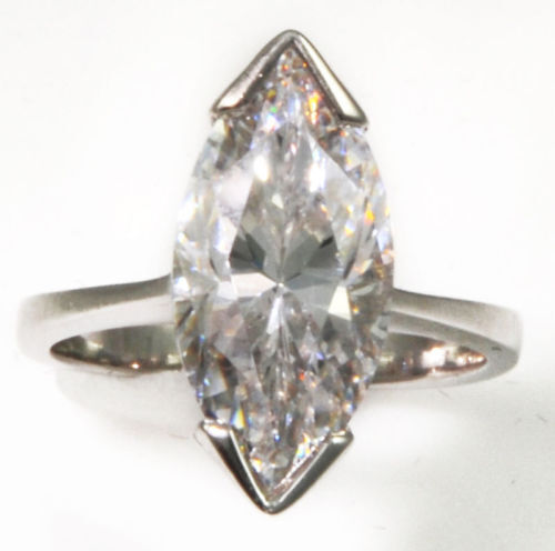 2 ct Marquise Ring Vintage Top Russian CZ Moissanite Simulant SS Size 9