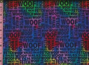 1/2 Yard Cotton FLANNEL Jeweltone Tie Dye Dog Words WOOF ...
