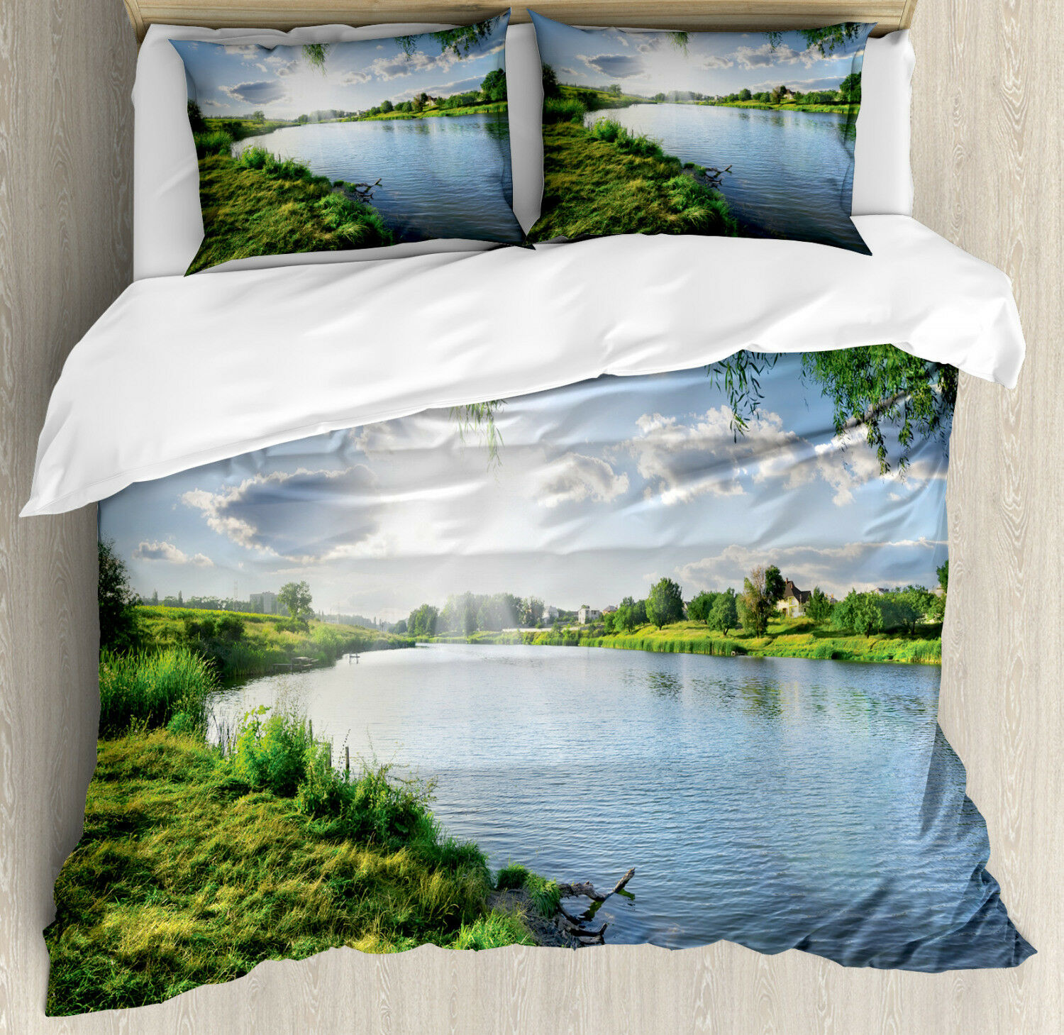 Nature Duvet Cover Set with Pillow Shams Calm River in Summer Print
