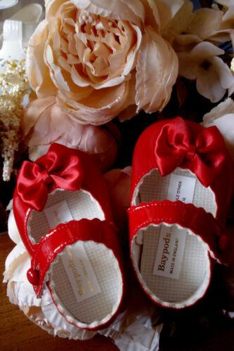 Baby Girls RED Patent Mary Janes Pram Shoes Christening UK Size 0-1-2 //0-3-6-12m