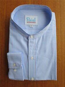 1930s-40s-palida-anteojeras-en-azul-a-rayas-camisa-sin-cuello-de-estilo-vintage-100-algodon