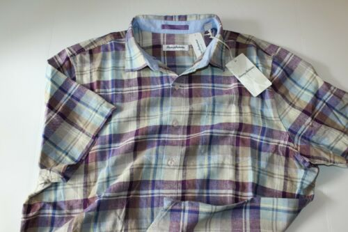 Tommy Bahama Camp Shirt La Paz Plaid Sparkling Grape T319876 New Extra Large XL