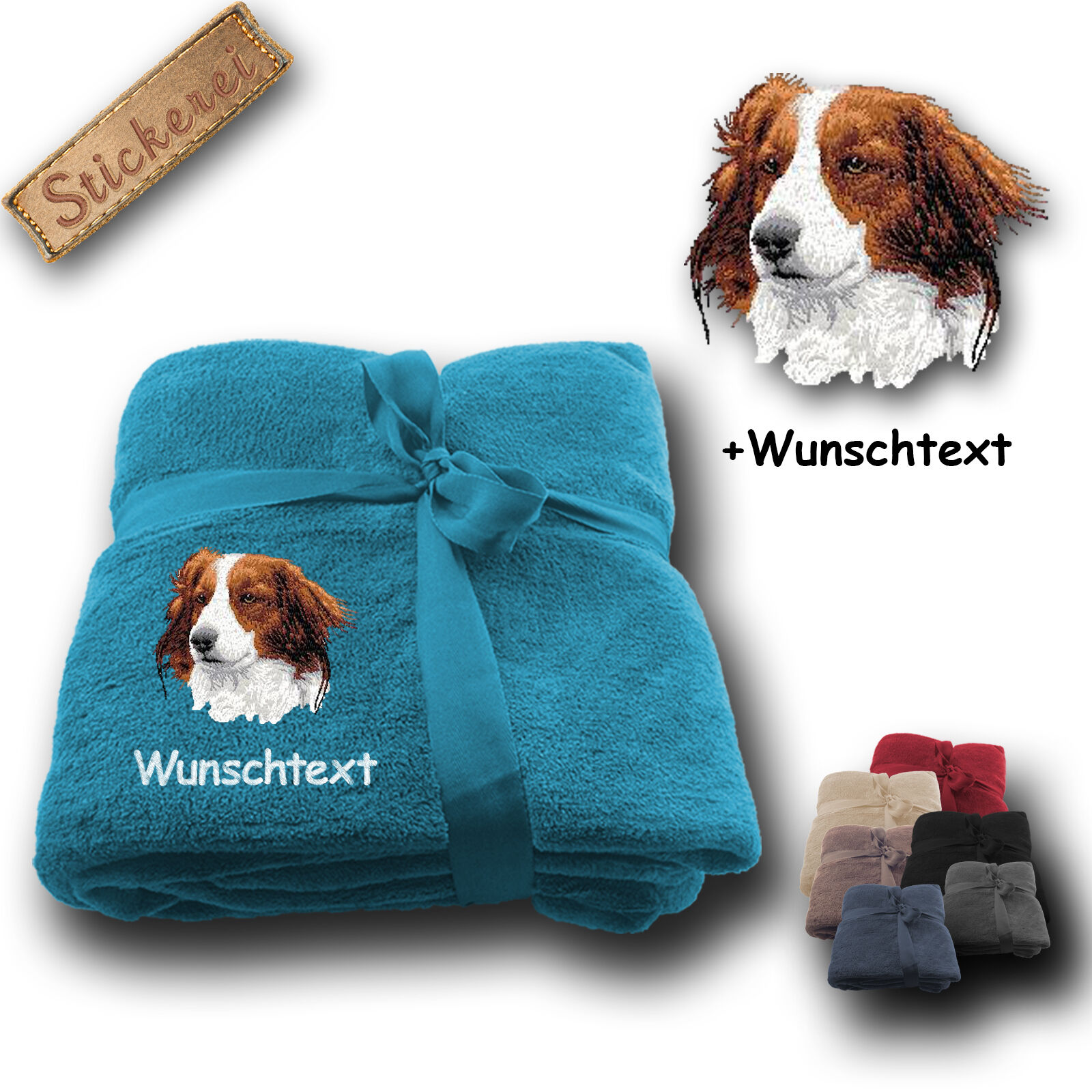 Morbida coperta soffice coperta cane KOOIKERHONDJE + desiderio di testo, ricamo, 180x130cm