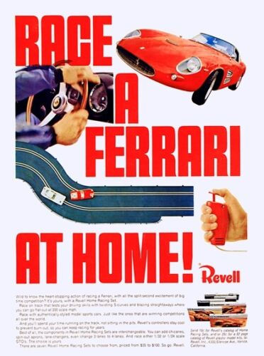 VINTAGE 1960/'S REVELL FERRARI TOY SLOT CAR ADVERTISING A3 POSTER REPRINT