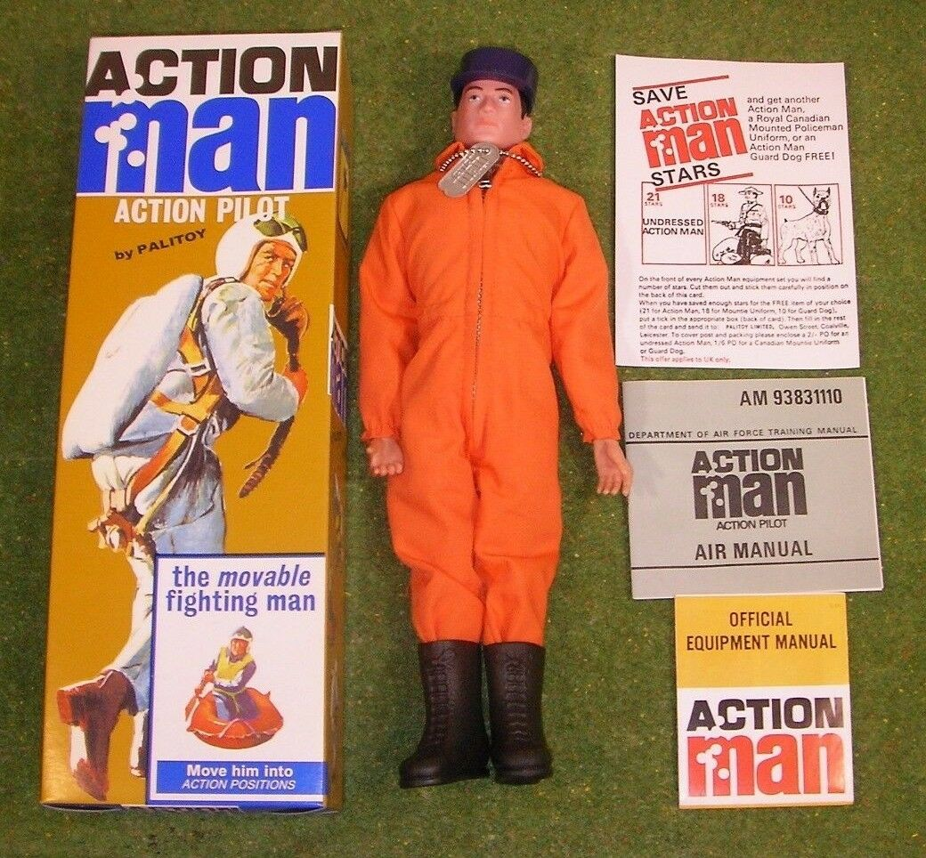 ACTION MAN 40th BOXED ACTION PILOT schwarz PAINTED HAIR HARD HANDS ( GI JOE )