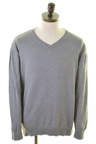 Hg04 Sweater V Xl neck Hilfiger Cotton Tommy Mens Jumper Grey HOBzqWaw