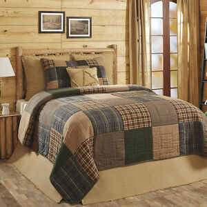 4pc HENLEY Queen Quilt Set Rusti​c Primitive Brown/Blue/Cre<wbr/>me Madras Plaid