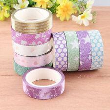 10PCS Self Adhesive Glitter Washi Masking Tape Sticker Craft DIY Decor 15mmx3m