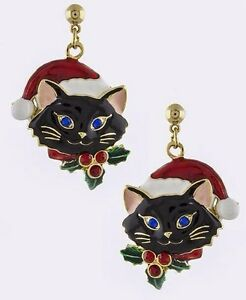 Christmas kitty cat wearing santa hat holly berry on collar dangle