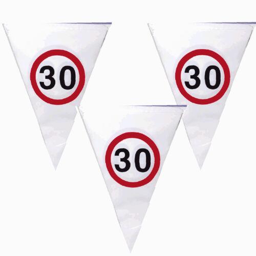 Party Geburtstag Deko 30 Verkehrsschild Girlande Luftschlangen Schleife oder SET