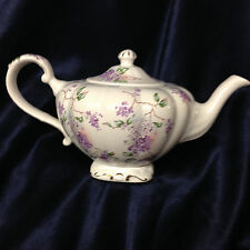 ARTHUR WOOD & SON 6800 TEAPOT & LID 28 OZ LIGHT & DARK PURPLE FLORAL LILAC