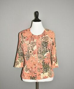 JOSEPH-RIBKOFF-NEW-265-Coral-Floral-Ruched-Sequin-Zip-Jacket-Size-12