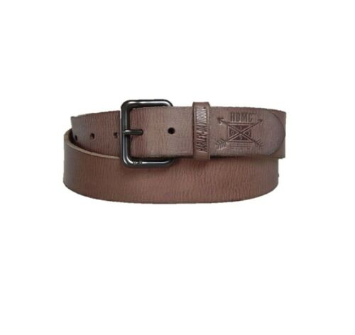 MENS LEATHER BELT BROWN BLACK BUCKLE 34 36 38 40 BIKER GIFT HARLEY-DAVIDSON