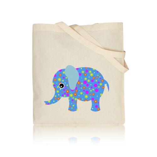 Floral Blue Elephant 100/% Natural Cotton Shoulder Tote Shopping Gym Book Bag