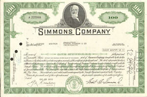 Simmons Mattress Company /> Beautyrest stock certificate