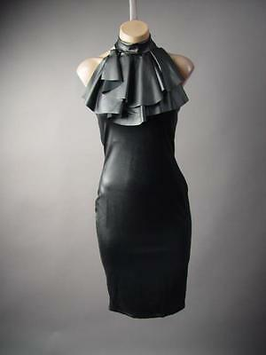 Black Faux Leather Statement Ruffle Frill Flounce High Neck Pencil 211 mv Dress
