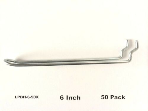 "50 PACK 6"" Looped Metal Peg Hooks wElevated Tip. Fits 18 & 14 Pegboard"