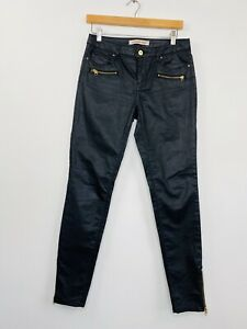 Country-Road-Womens-Black-Skinny-Jeans-Coated-Denim-Gold-Zips-Stretch-Size-8