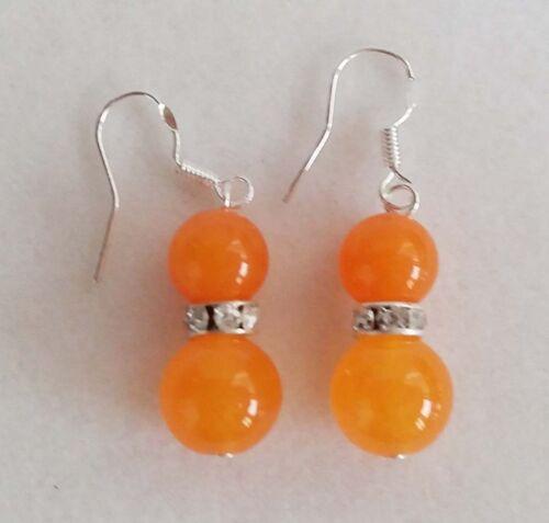 """Fashion 6-14 mm Genuine Orange TOPAZE pierres précieuses ronde Collier Boucles d/'oreilles Set 18/"""""""