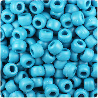 500 Dark Blue Frosted 9x6mm Barrel Pony Beads Made in the USA by The Beadery