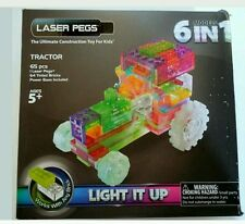 Laser Pegs Tractor 6 In 1 Light Up Construction Toy Batteries Power Base Block