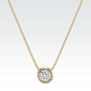 1 ct real 14k solid yellow gold round bezel set solitaire pendant image is loading 1 ct real 14k solid yellow gold round aloadofball Images
