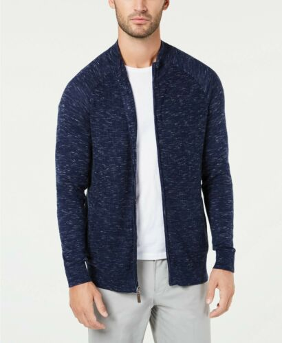 $195 CLUB ROOM MEN/'S BLUE TEXTURED COTTON FULL-ZIP SOFT PULLOVER SWEATER SIZE M