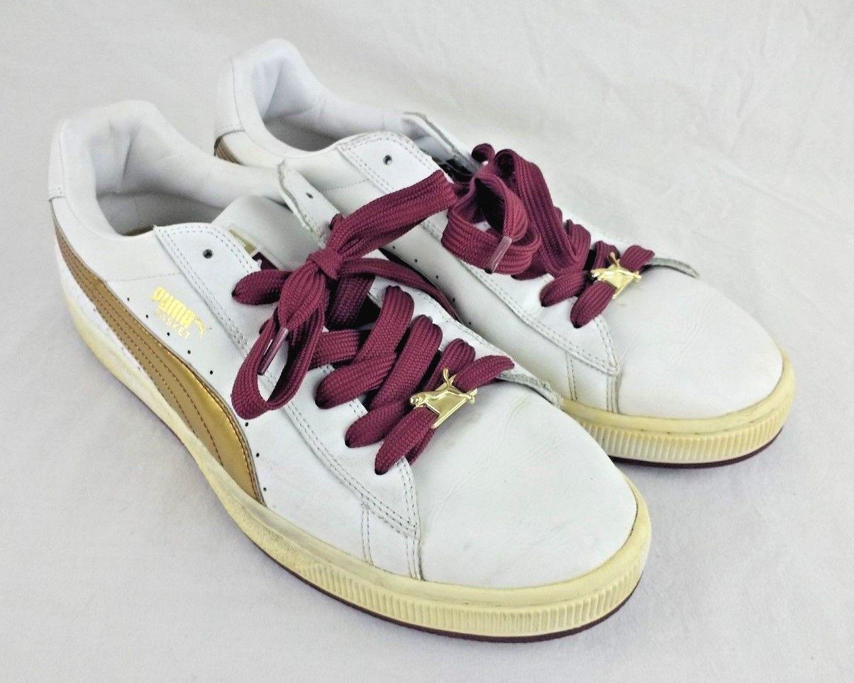 b66aaa82e Puma Puma Puma Men Basket II Sport Athletic Shoes Size 11 M US White Gold  Burgundy Sneaker 23e428
